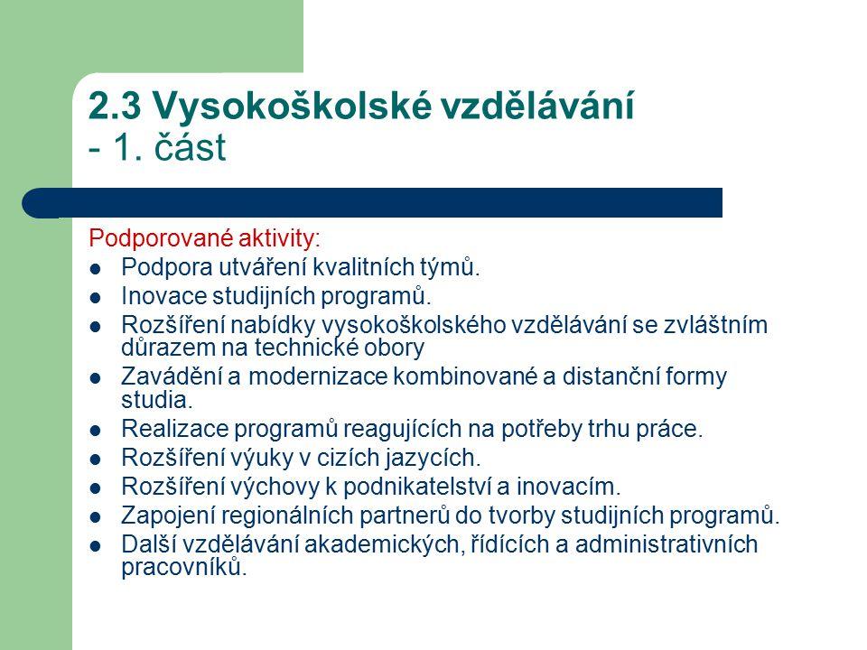 2.3 Vysokoškolské vzdělávání - 1. část Podporované aktivity: Podpora utváření kvalitních týmů.