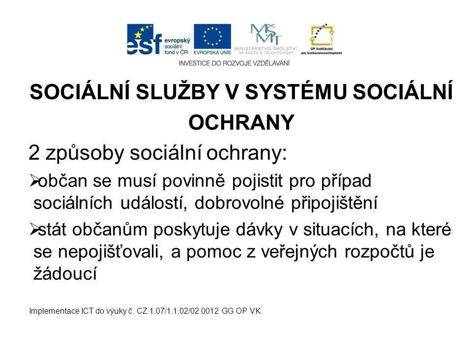 SOCIÁLNÍ SLUŽBY V SYSTÉMU SOCIÁLNÍ OCHRANY 2 způsoby sociální ochrany:  občan se musí povinně pojistit pro případ sociálních událostí, dobrovolné připojištění  stát občanům poskytuje dávky v situacích, na které se nepojišťovali, a pomoc z veřejných rozpočtů je žádoucí Implementace ICT do výuky č.