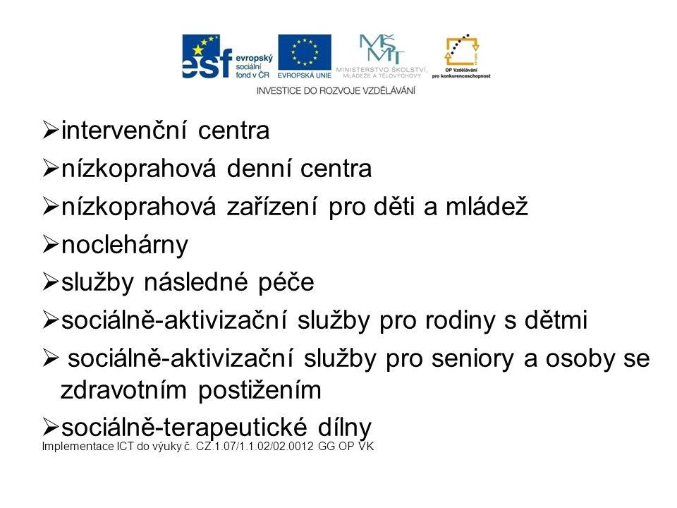  intervenční centra  nízkoprahová denní centra  nízkoprahová zařízení pro děti a mládež  noclehárny  služby následné péče  sociálně-aktivizační