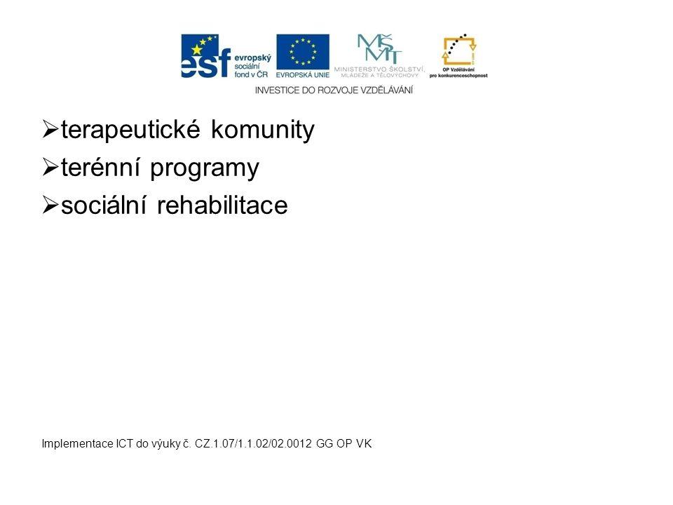  terapeutické komunity  terénní programy  sociální rehabilitace Implementace ICT do výuky č. CZ.1.07/1.1.02/02.0012 GG OP VK