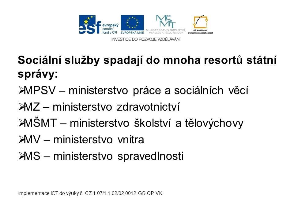 Sociální služby spadají do mnoha resortů státní správy:  MPSV – ministerstvo práce a sociálních věcí  MZ – ministerstvo zdravotnictví  MŠMT – minis