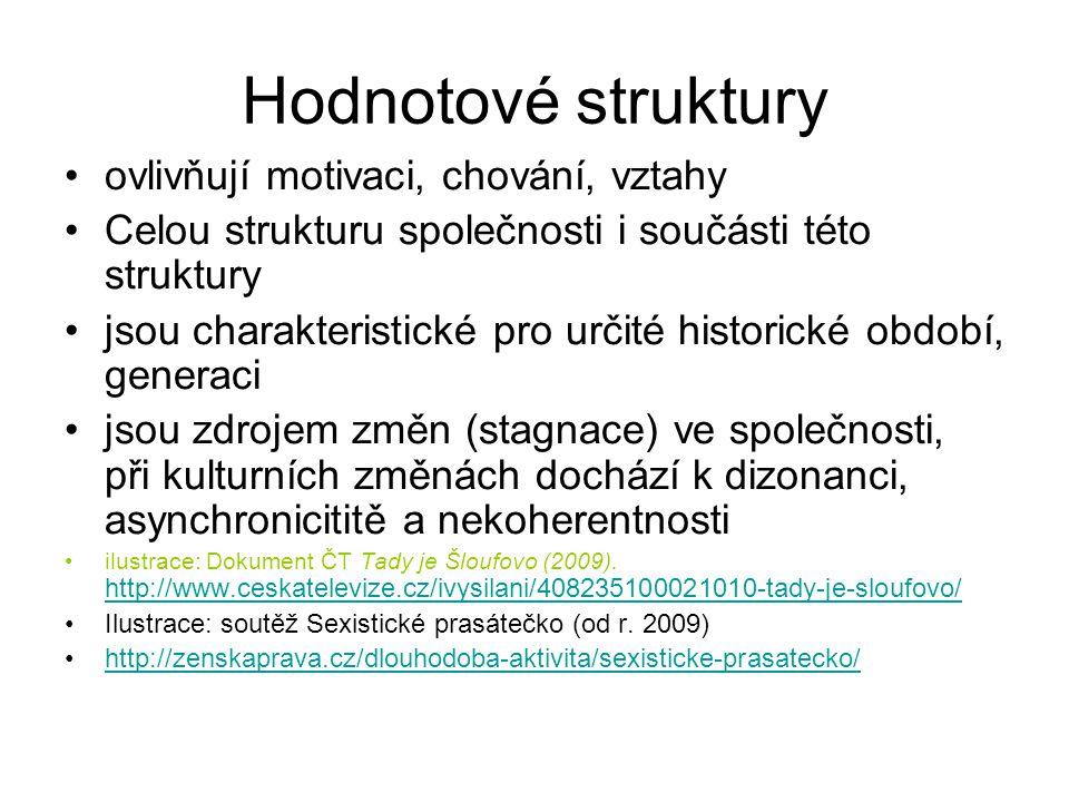 Hodnotové struktury ovlivňují motivaci, chování, vztahy Celou strukturu společnosti i součásti této struktury jsou charakteristické pro určité histori