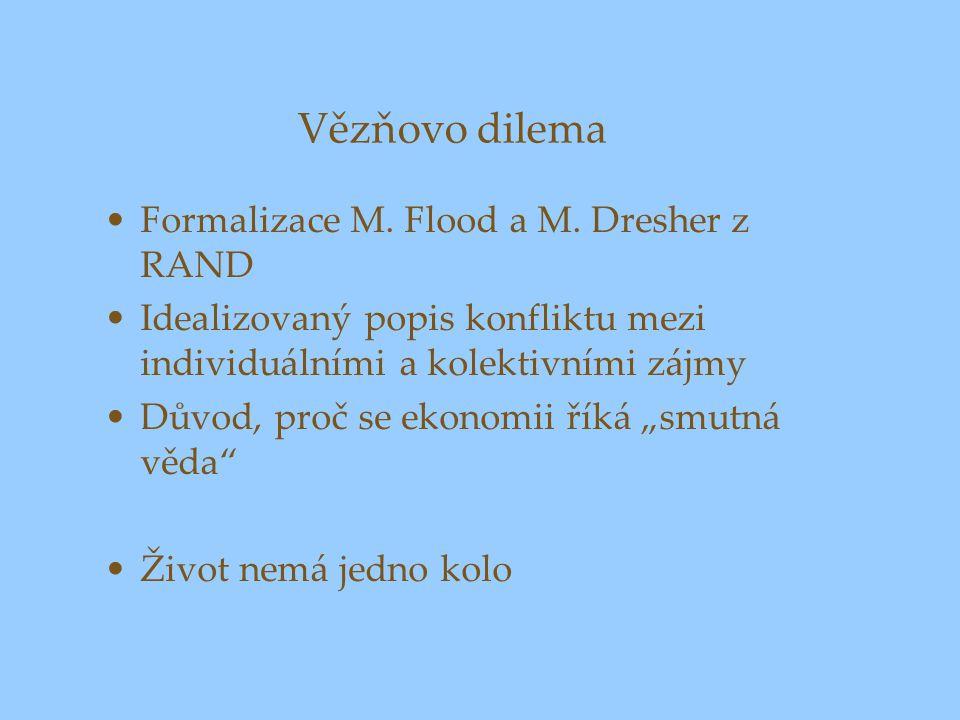 Vězňovo dilema Formalizace M. Flood a M. Dresher z RAND Idealizovaný popis konfliktu mezi individuálními a kolektivními zájmy Důvod, proč se ekonomii