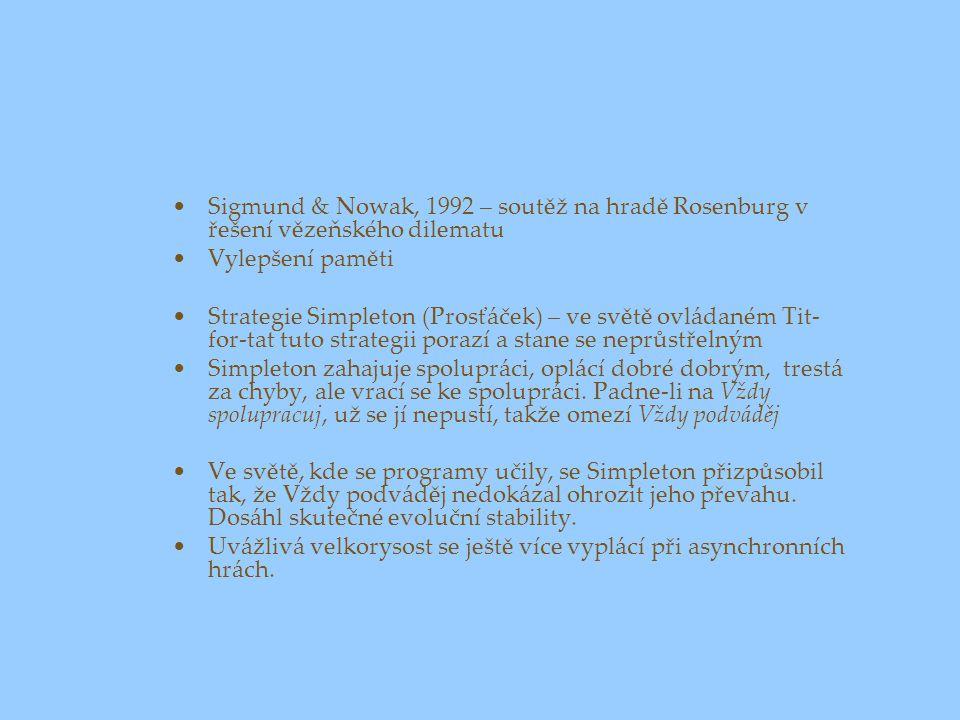 Sigmund & Nowak, 1992 – soutěž na hradě Rosenburg v řešení vězeňského dilematu Vylepšení paměti Strategie Simpleton (Prosťáček) – ve světě ovládaném T