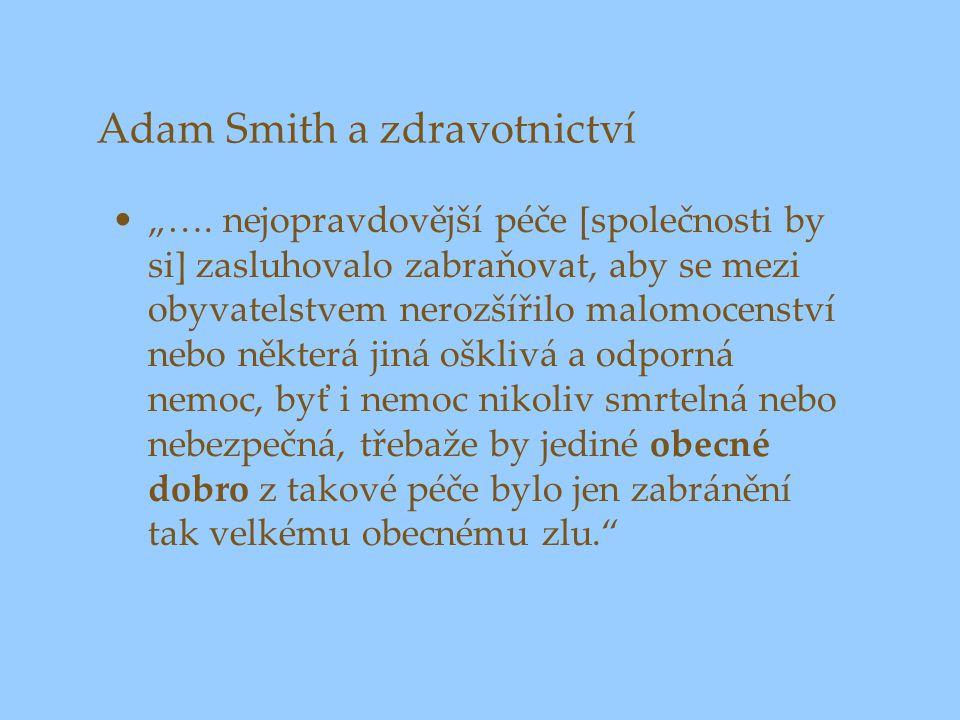 """Adam Smith a zdravotnictví """"…. nejopravdovější péče [společnosti by si] zasluhovalo zabraňovat, aby se mezi obyvatelstvem nerozšířilo malomocenství ne"""