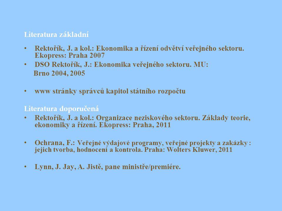 Literatura základní Rektořík, J. a kol.: Ekonomika a řízení odvětví veřejného sektoru. Ekopress: Praha 2007 DSO Rektořík, J.: Ekonomika veřejného sekt