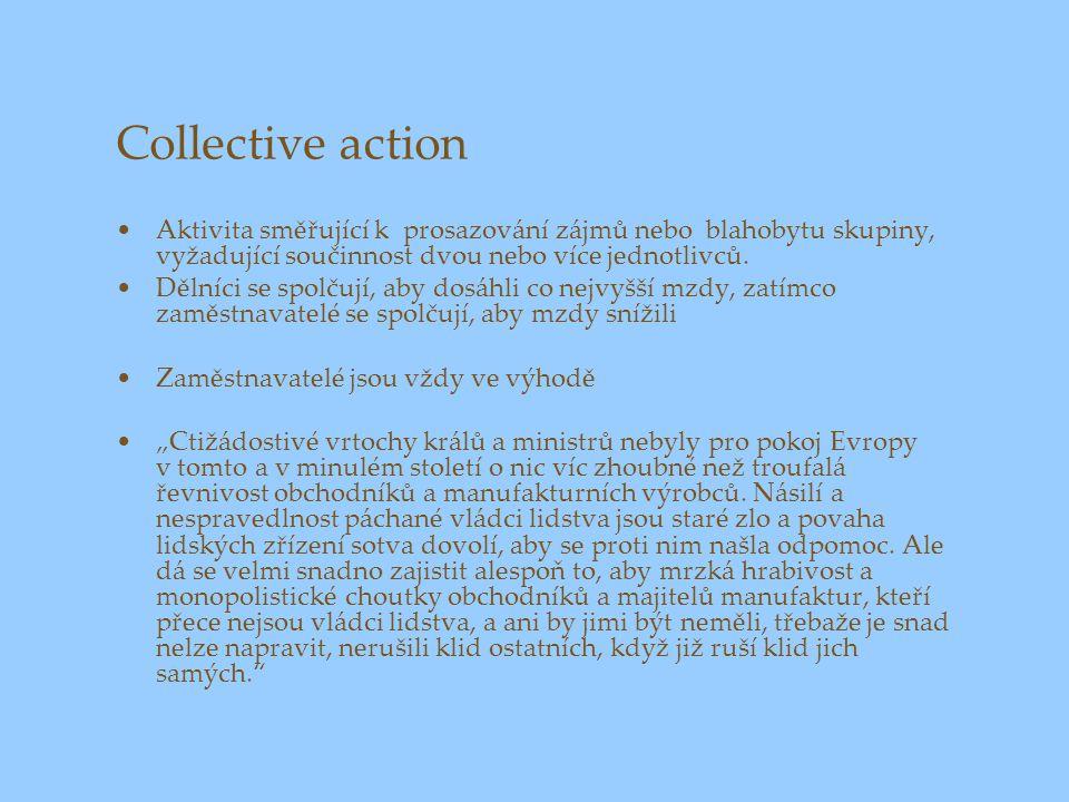 Collective action Aktivita směřující k prosazování zájmů nebo blahobytu skupiny, vyžadující součinnost dvou nebo více jednotlivců. Dělníci se spolčují