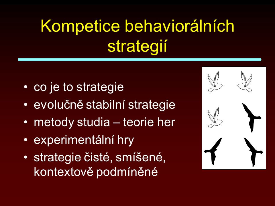 Kompetice behaviorálních strategií co je to strategie evolučně stabilní strategie metody studia – teorie her experimentální hry strategie čisté, smíšené, kontextově podmíněné