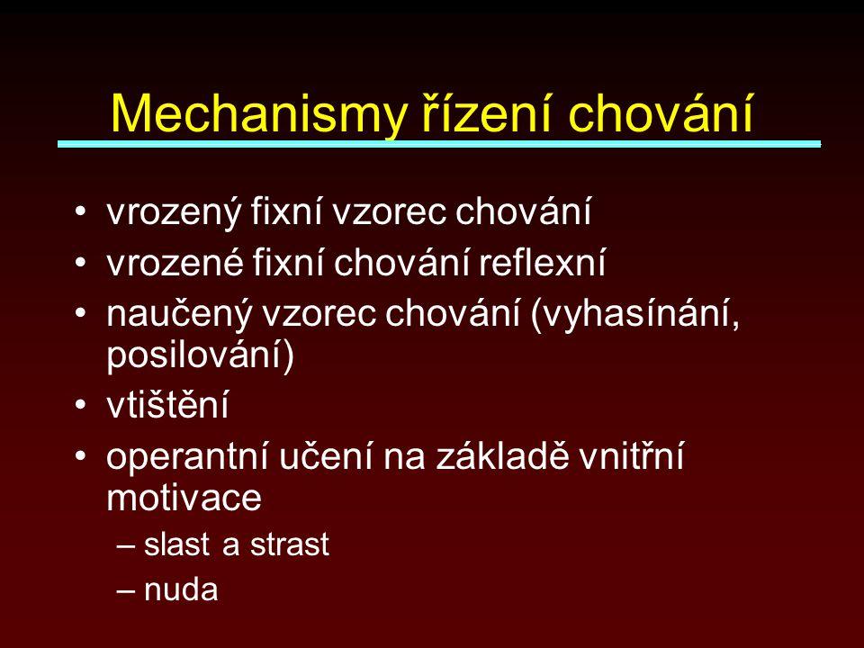 Mechanismy řízení chování vrozený fixní vzorec chování vrozené fixní chování reflexní naučený vzorec chování (vyhasínání, posilování) vtištění operantní učení na základě vnitřní motivace –slast a strast –nuda