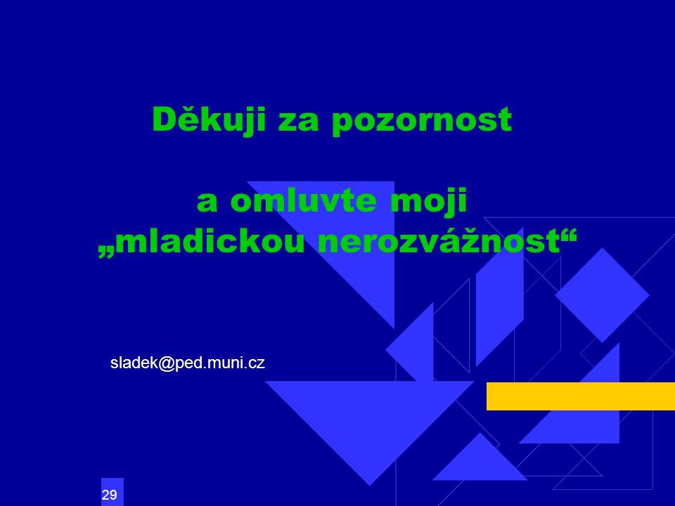 """29 Děkuji za pozornost a omluvte moji """"mladickou nerozvážnost sladek@ped.muni.cz"""