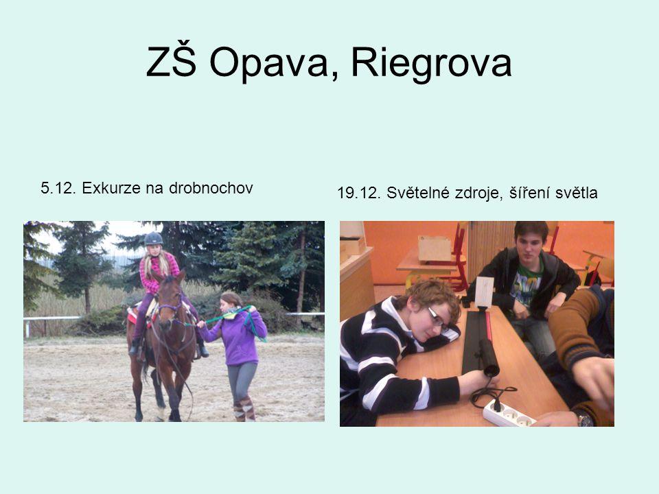 ZŠ Opava, Riegrova 5.12. Exkurze na drobnochov 19.12. Světelné zdroje, šíření světla