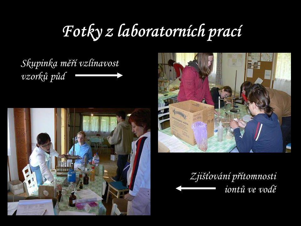 Fotky z laboratorních prací Skupinka měří vzlínavost vzorků půd Zjišťování přítomnosti iontů ve vodě