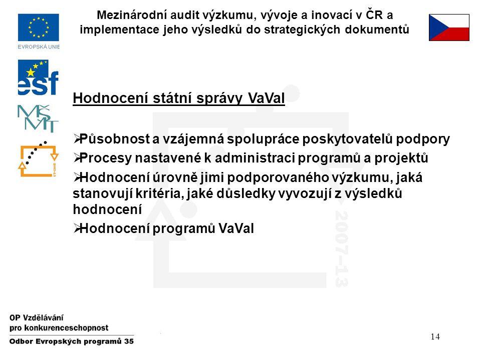 14 Mezinárodní audit výzkumu, vývoje a inovací v ČR a implementace jeho výsledků do strategických dokumentů Hodnocení státní správy VaVaI  Působnost
