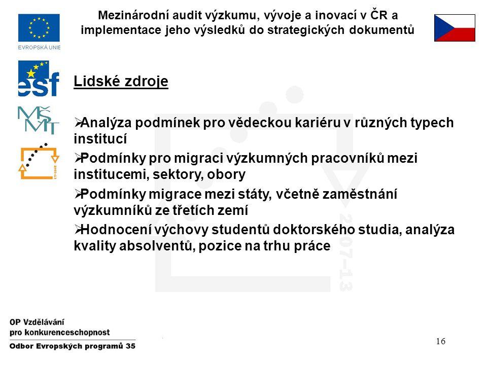 16 Mezinárodní audit výzkumu, vývoje a inovací v ČR a implementace jeho výsledků do strategických dokumentů Lidské zdroje  Analýza podmínek pro vědec