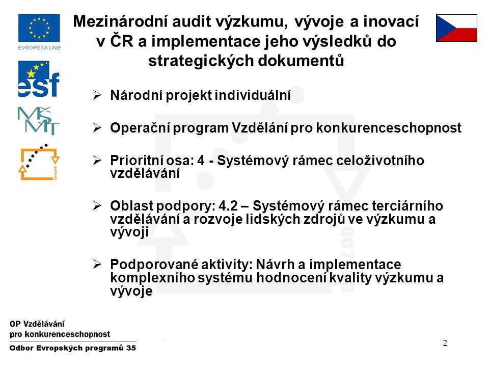 2  Národní projekt individuální  Operační program Vzdělání pro konkurenceschopnost  Prioritní osa: 4 - Systémový rámec celoživotního vzdělávání  O