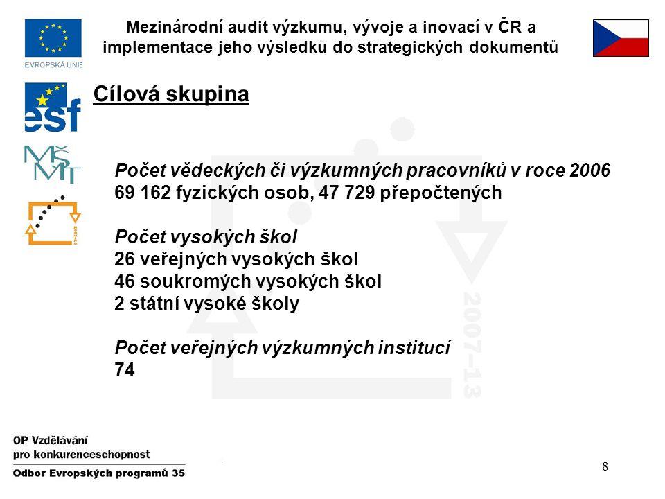 8 Cílová skupina Mezinárodní audit výzkumu, vývoje a inovací v ČR a implementace jeho výsledků do strategických dokumentů Počet vědeckých či výzkumnýc