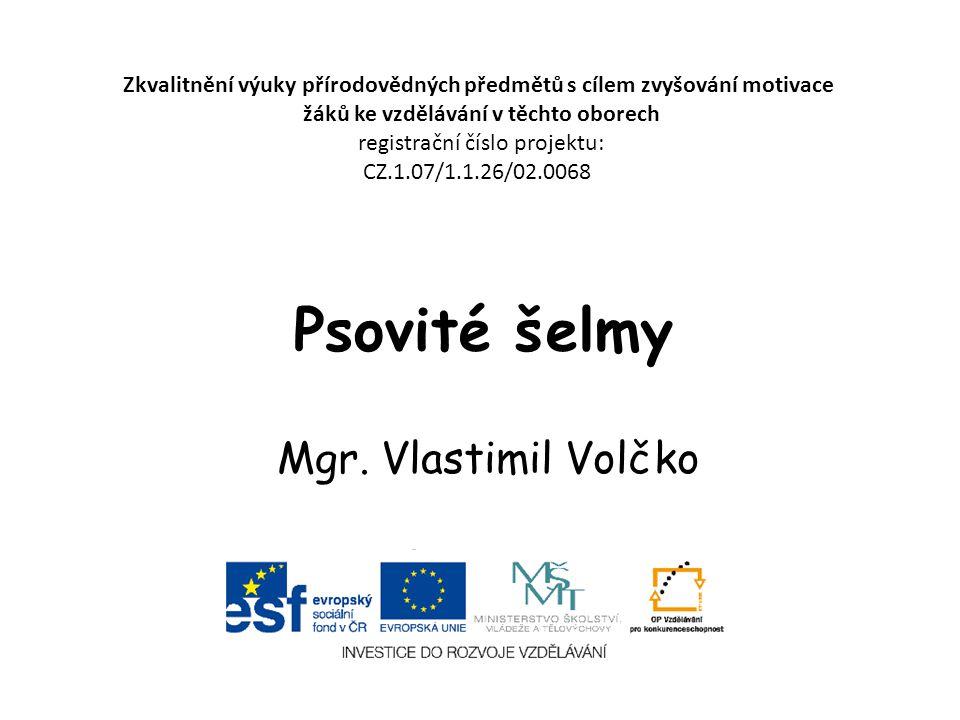 Psovité šelmy Mgr. Vlastimil Volčko Zkvalitnění výuky přírodovědných předmětů s cílem zvyšování motivace žáků ke vzdělávání v těchto oborech registrač