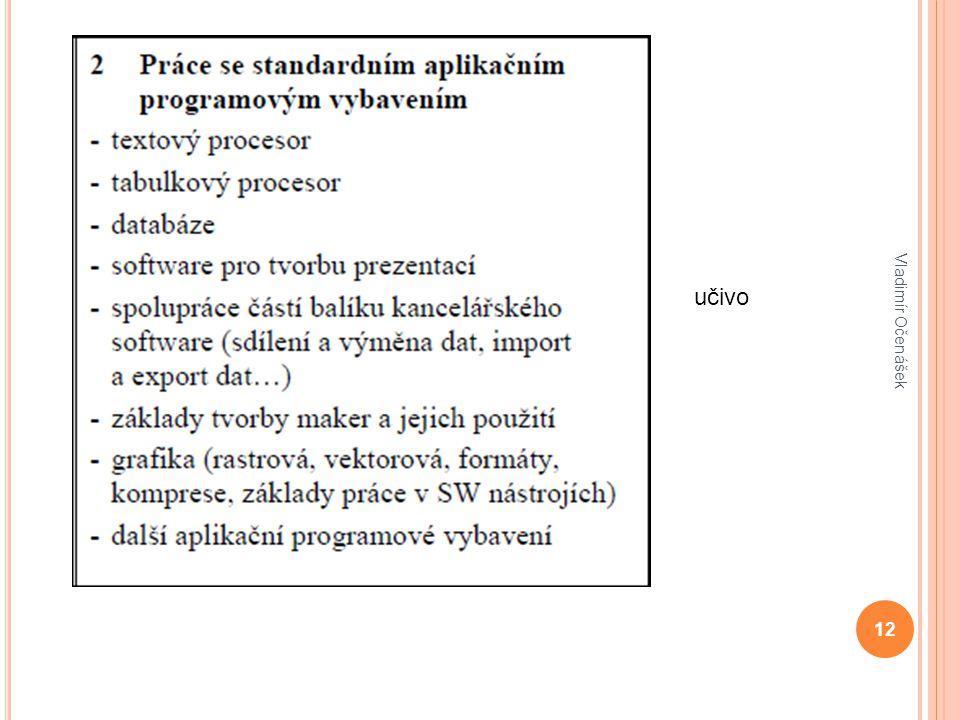 12 Vladimír Očenášek učivo