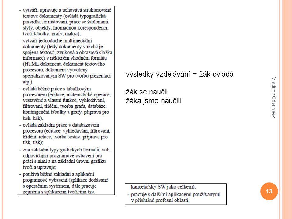 13 Vladimír Očenášek výsledky vzdělávání = žák ovládá žák se naučil žáka jsme naučili