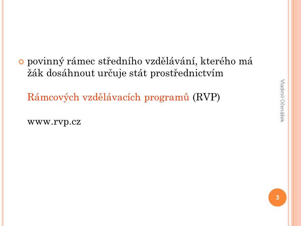 povinný rámec středního vzdělávání, kterého má žák dosáhnout určuje stát prostřednictvím Rámcových vzdělávacích programů (RVP) www.rvp.cz Vladimír Očenášek 3