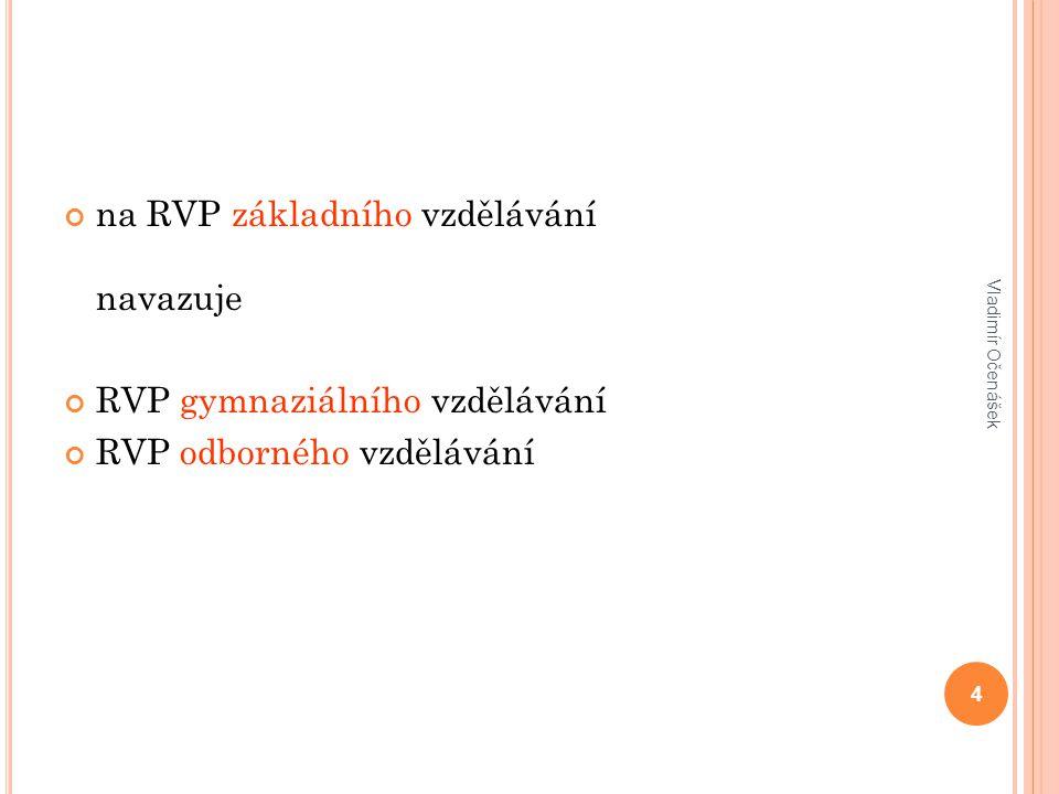 na RVP základního vzdělávání navazuje RVP gymnaziálního vzdělávání RVP odborného vzdělávání Vladimír Očenášek 4