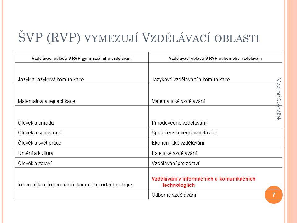 oblast našeho zájmu Vzdělávání v informačních a komunikačních technologiích Vladimír Očenášek 8