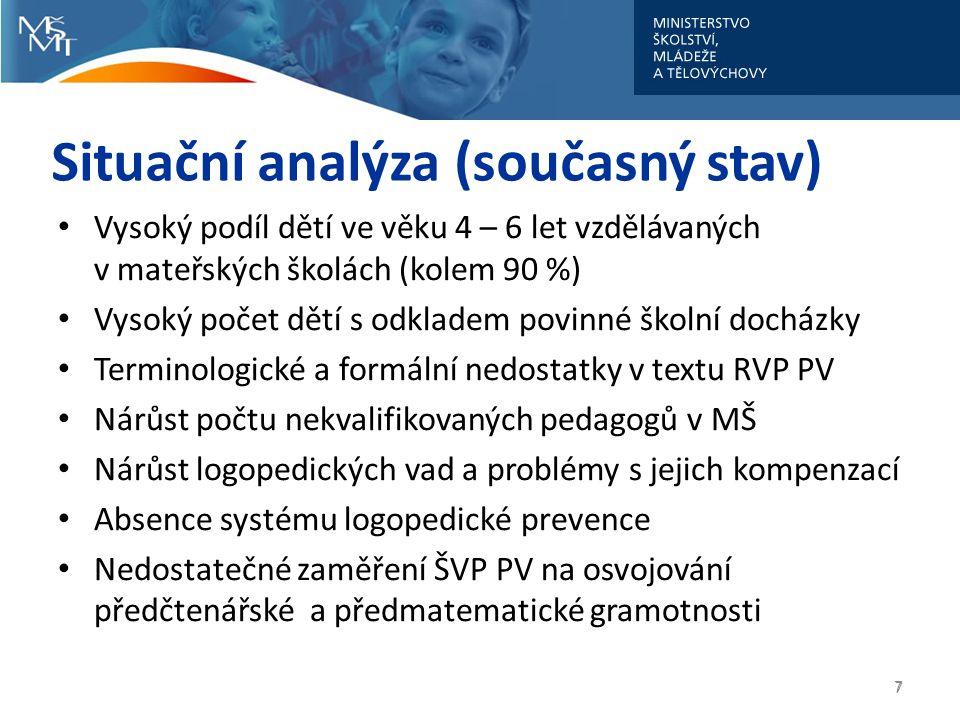 8 8 Současná podoba RVP PV 1.Vzdělávací oblasti 2.Podmínky ke vzdělávání 3.Kompetence předškolního pedagoga 4.Evaluační systém školy 5.Konkretizované očekávané výstupy
