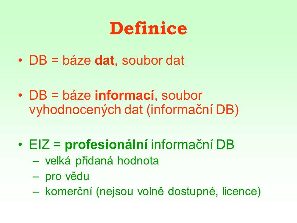 Definice DB = báze dat, soubor dat DB = báze informací, soubor vyhodnocených dat (informační DB) EIZ = profesionální informační DB – velká přidaná hodnota – pro vědu – komerční (nejsou volně dostupné, licence)