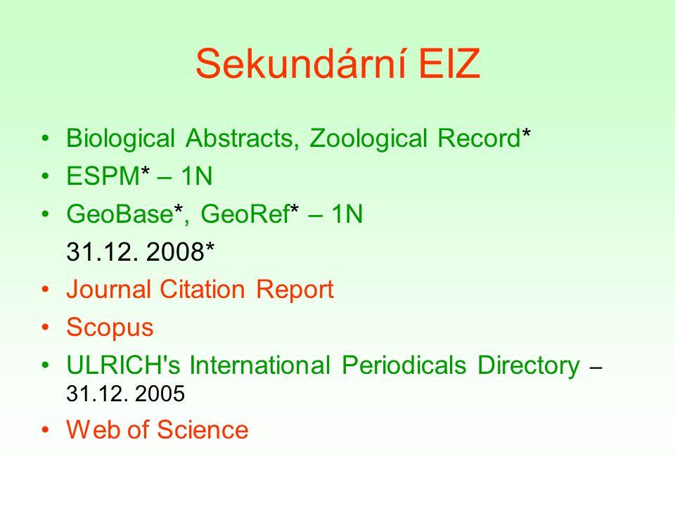 Sekundární EIZ Biological Abstracts, Zoological Record* ESPM* – 1N GeoBase*, GeoRef* – 1N 31.12.