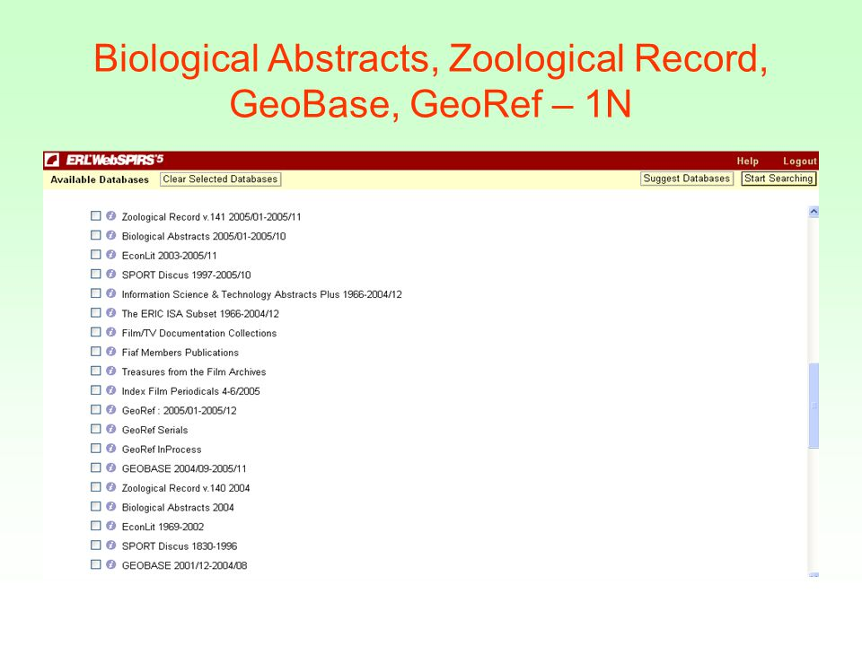 Biological Abstracts, Zoological Record, GeoBase, GeoRef – 1N
