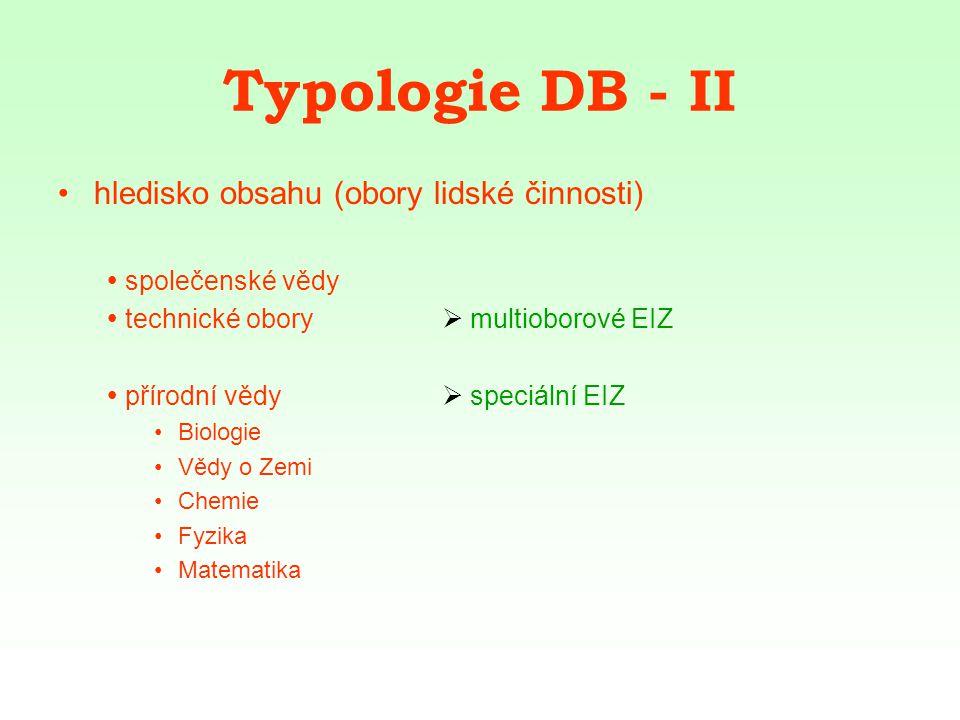 Typologie DB - III hledisko typu zpracovaných dokumentů  DB časopisů  primární EIZ  DB norem Bibliografické citace ČSN ISO 690 (PDF) Bibliografické citace - elektronické dokumenty ČSN ISO 690-2 (PDF)  DB šedé literatury ETH E-Collection
