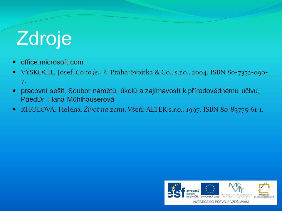 Zdroje office.microsoft.com VYSKOČIL, Josef. Co to je...?. Praha: Svojtka & Co., s.r.o., 2004. ISBN 80-7352-090- 7. pracovní sešit, Soubor námětů, úko