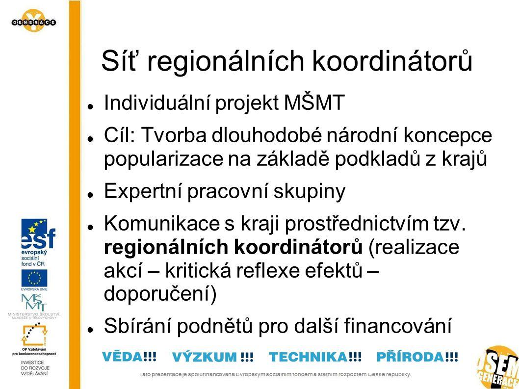 Cíl projektu RK Popularizace technických a přírodovědných oborů Síťování relevantních subjektů Podpora výuky technických a přírodovědných oborů Prosinec 2010 až říjen 2011 (září 2012)