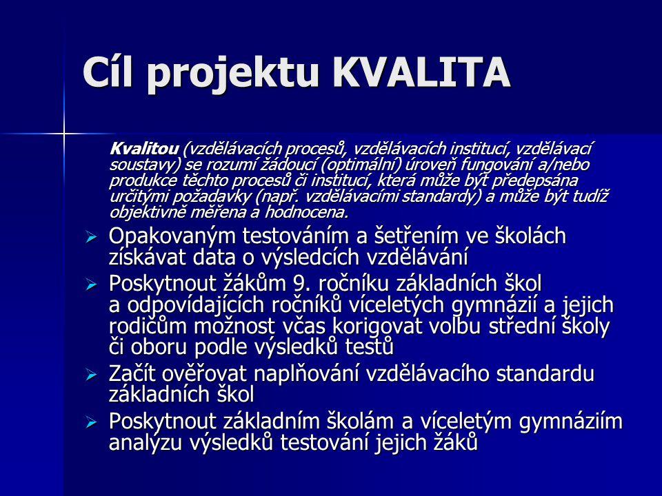 Cíl projektu KVALITA Kvalitou (vzdělávacích procesů, vzdělávacích institucí, vzdělávací soustavy) se rozumí žádoucí (optimální) úroveň fungování a/nebo produkce těchto procesů či institucí, která může být předepsána určitými požadavky (např.