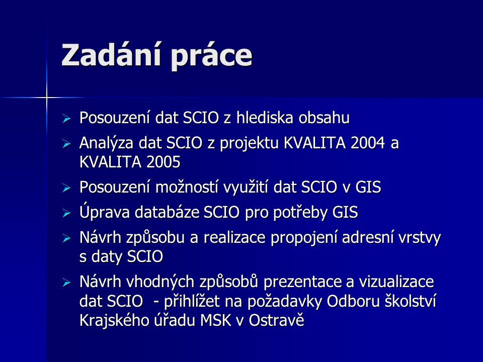 Zadání práce  Posouzení dat SCIO z hlediska obsahu  Analýza dat SCIO z projektu KVALITA 2004 a KVALITA 2005  Posouzení možností využití dat SCIO v GIS  Úprava databáze SCIO pro potřeby GIS  Návrh způsobu a realizace propojení adresní vrstvy s daty SCIO  Návrh vhodných způsobů prezentace a vizualizace dat SCIO - přihlížet na požadavky Odboru školství Krajského úřadu MSK v Ostravě