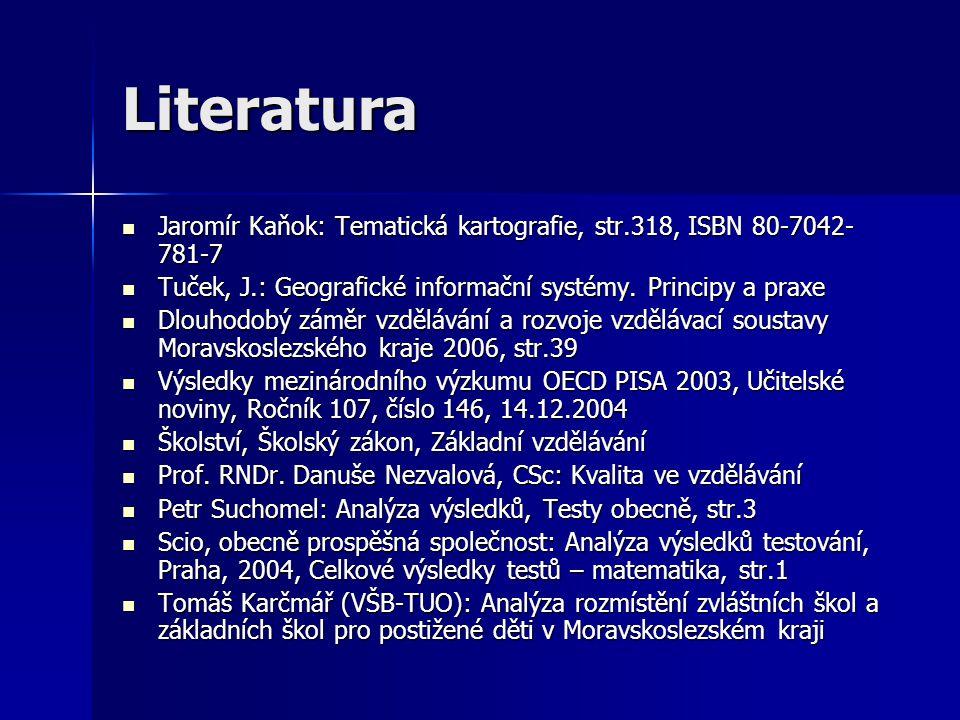 Literatura Jaromír Kaňok: Tematická kartografie, str.318, ISBN 80-7042- 781-7 Jaromír Kaňok: Tematická kartografie, str.318, ISBN 80-7042- 781-7 Tuček, J.: Geografické informační systémy.