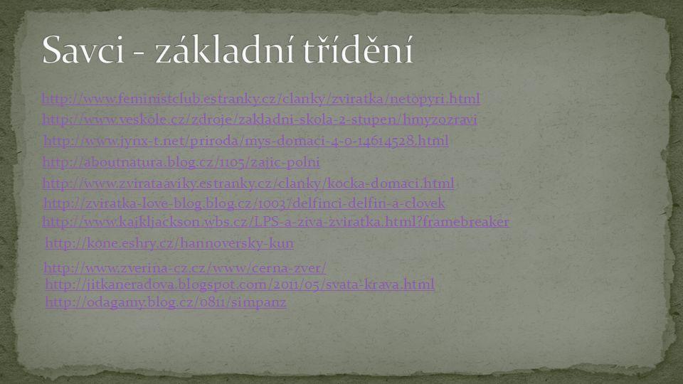 http://www.feministclub.estranky.cz/clanky/zviratka/netopyri.html http://www.veskole.cz/zdroje/zakladni-skola-2-stupen/hmyzozravi http://www.jynx-t.ne