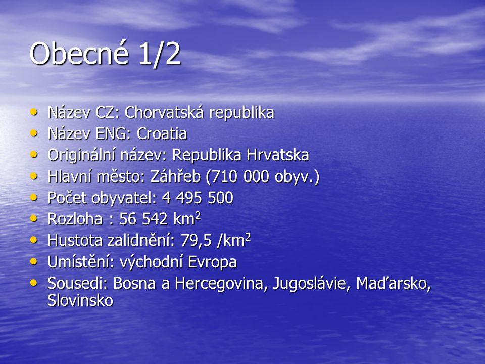 Obecné 1/2 Název CZ: Chorvatská republika Název CZ: Chorvatská republika Název ENG: Croatia Název ENG: Croatia Originální název: Republika Hrvatska Or