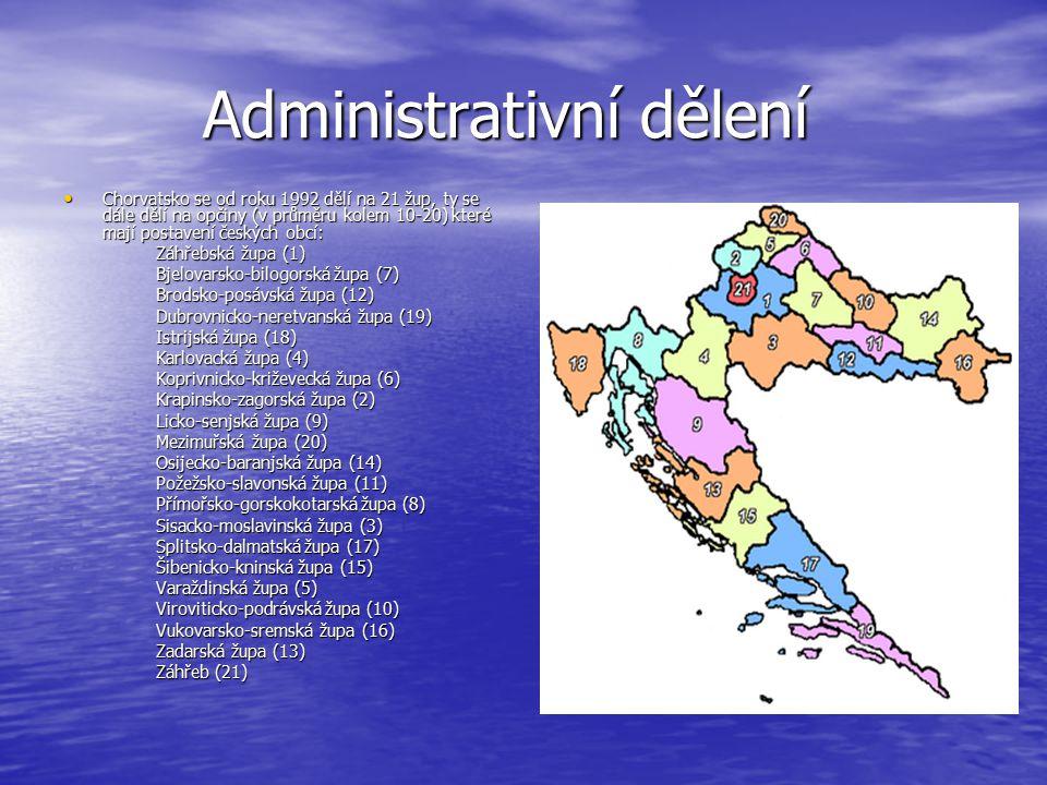 Administrativní dělení Administrativní dělení Chorvatsko se od roku 1992 dělí na 21 žup, ty se dále dělí na opčiny (v průměru kolem 10-20) které mají