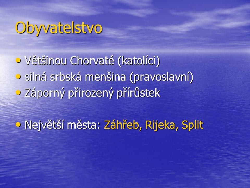 Obyvatelstvo Většinou Chorvaté (katolíci) Většinou Chorvaté (katolíci) silná srbská menšina (pravoslavní) silná srbská menšina (pravoslavní) Záporný přirozený přírůstek Záporný přirozený přírůstek Největší města: Záhřeb, Rijeka, Split Největší města: Záhřeb, Rijeka, Split