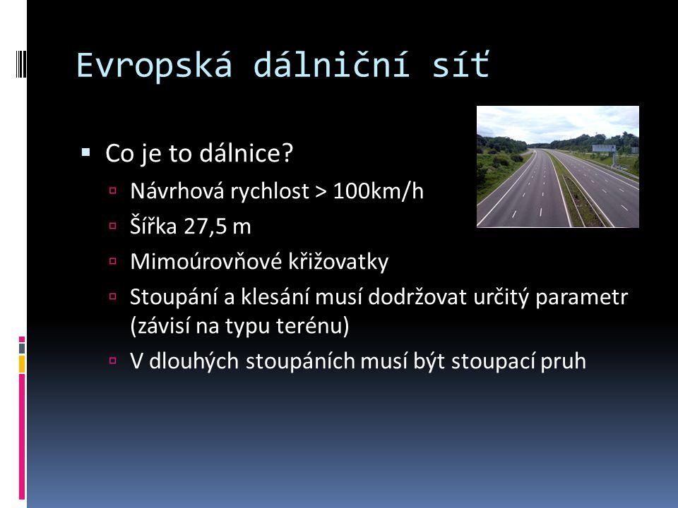Evropská dálniční síť  Co je to dálnice?  Návrhová rychlost > 100km/h  Šířka 27,5 m  Mimoúrovňové křižovatky  Stoupání a klesání musí dodržovat u