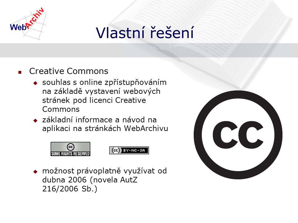 Vlastní řešení Creative Commons  souhlas s online zpřístupňováním na základě vystavení webových stránek pod licenci Creative Commons  základní informace a návod na aplikaci na stránkách WebArchivu  možnost právoplatně využívat od dubna 2006 (novela AutZ 216/2006 Sb.)