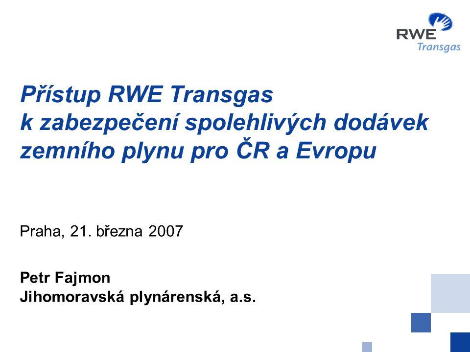 Přístup RWE Transgas k zabezpečení spolehlivých dodávek zemního plynu pro ČR a Evropu Praha, 21. března 2007 Petr Fajmon Jihomoravská plynárenská, a.s
