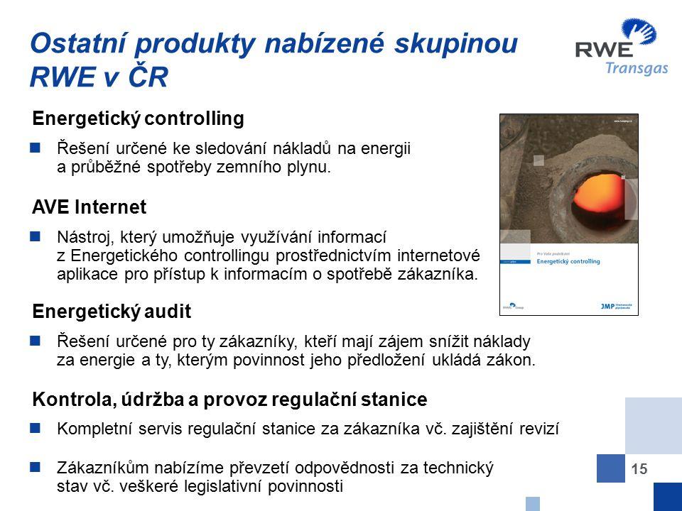 15 Ostatní produkty nabízené skupinou RWE v ČR Řešení určené ke sledování nákladů na energii a průběžné spotřeby zemního plynu. Energetický controllin