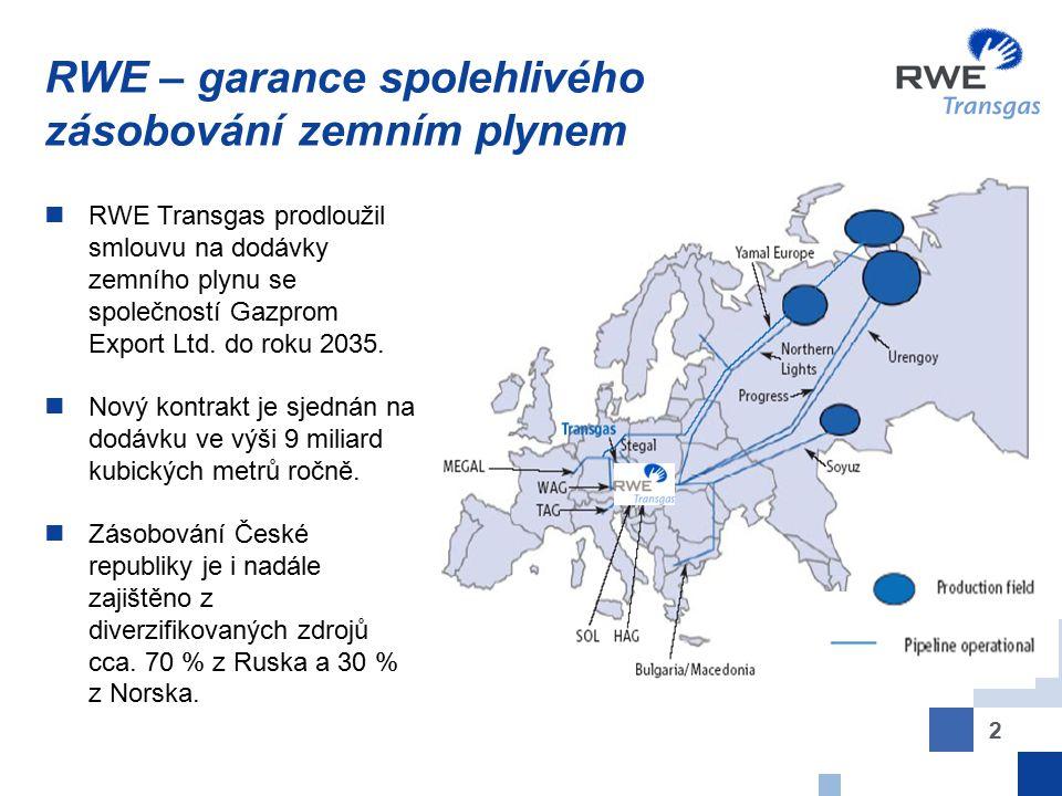 2 RWE – garance spolehlivého zásobování zemním plynem RWE Transgas prodloužil smlouvu na dodávky zemního plynu se společností Gazprom Export Ltd. do r