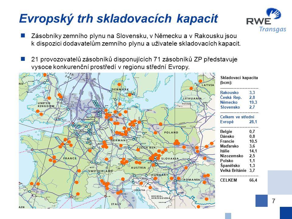 7 Evropský trh skladovacích kapacit Zásobníky zemního plynu na Slovensku, v Německu a v Rakousku jsou k dispozici dodavatelům zemního plynu a uživatel