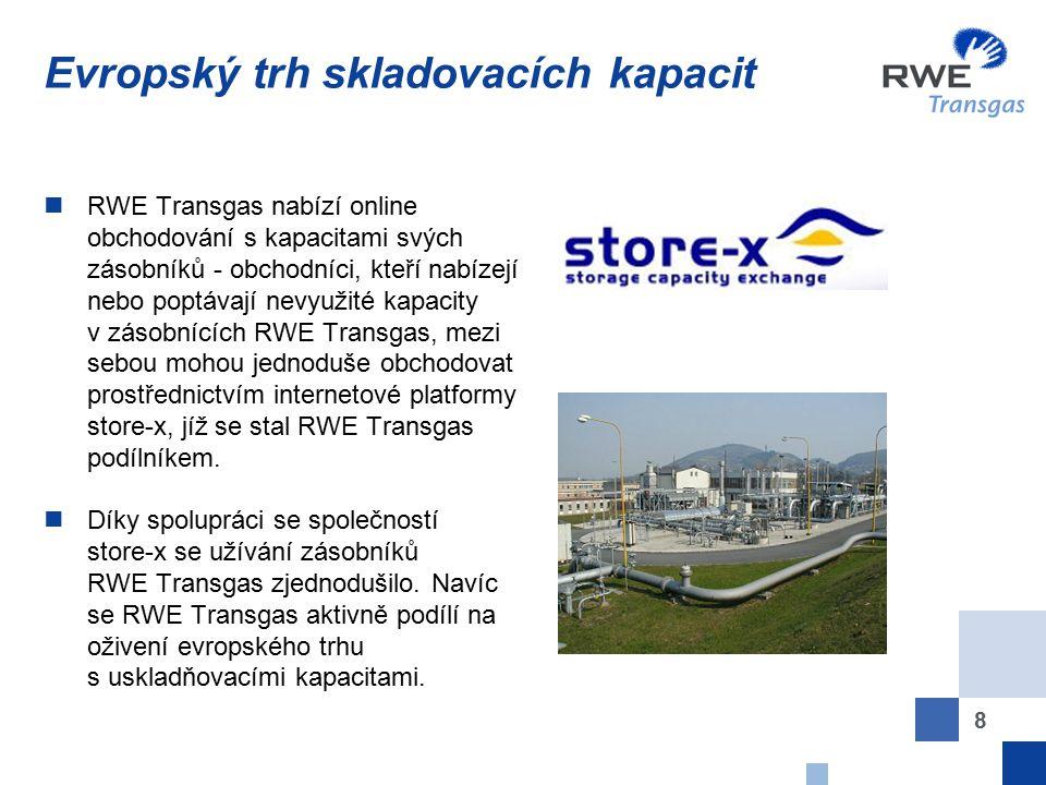 8 Evropský trh skladovacích kapacit RWE Transgas nabízí online obchodování s kapacitami svých zásobníků - obchodníci, kteří nabízejí nebo poptávají ne