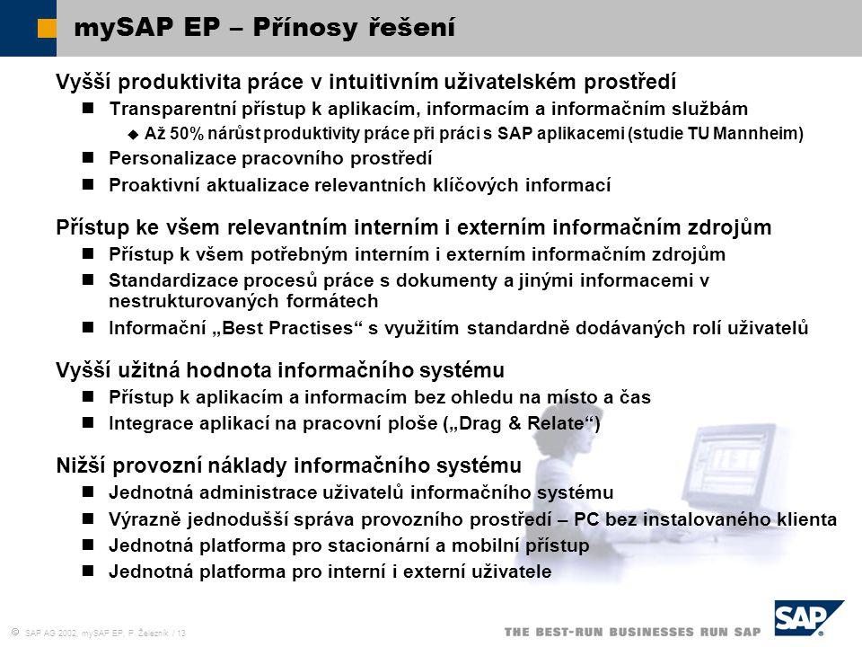  SAP AG 2002, mySAP EP, P. Železník / 13 mySAP EP – Přínosy řešení Vyšší produktivita práce v intuitivním uživatelském prostředí Transparentní přístu