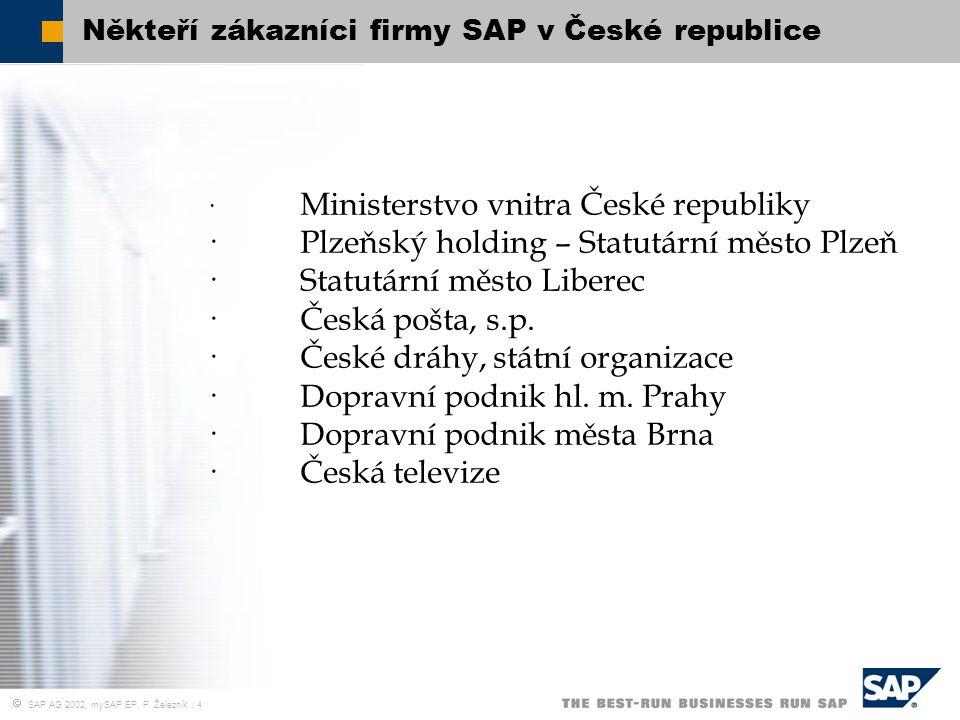  SAP AG 2002, mySAP EP, P. Železník / 4 Někteří zákazníci firmy SAP v České republice · Ministerstvo vnitra České republiky ·Plzeňský holding – Statu