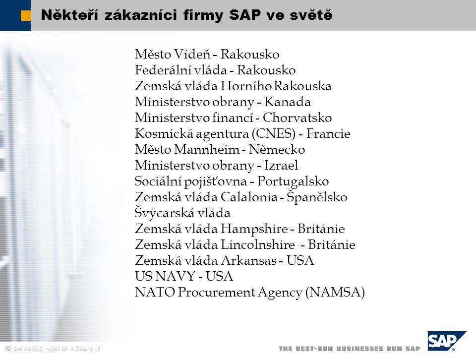  SAP AG 2002, mySAP EP, P. Železník / 5 Někteří zákazníci firmy SAP ve světě Město Vídeň - Rakousko Federální vláda - Rakousko Zemská vláda Horního R